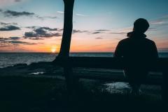 Am Rand des Gespensterwaldes stehen Bänke, von denen man wunderbar den Sonnenuntergang betrachten kann.