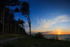 Panoramaaufnahme aus fünf Fotos. So lassen sich Wald und Sonnenuntergang am Besten auf ein Foto bringen.