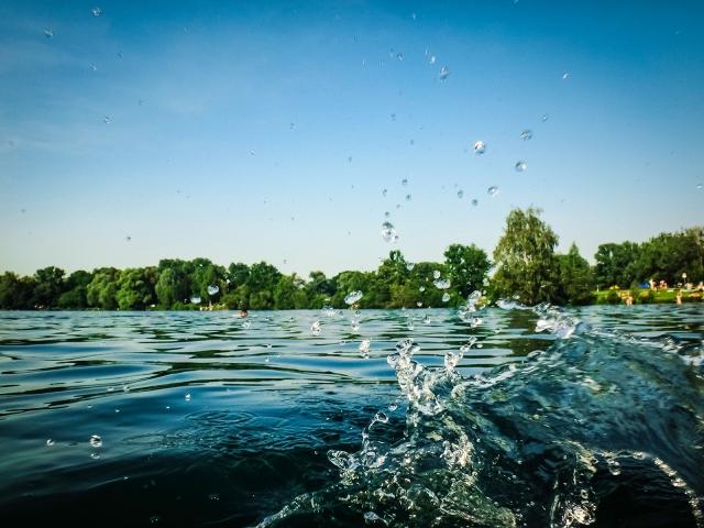 Erfrischung im Feldmochinger See (München) an einem heißen Sommertag