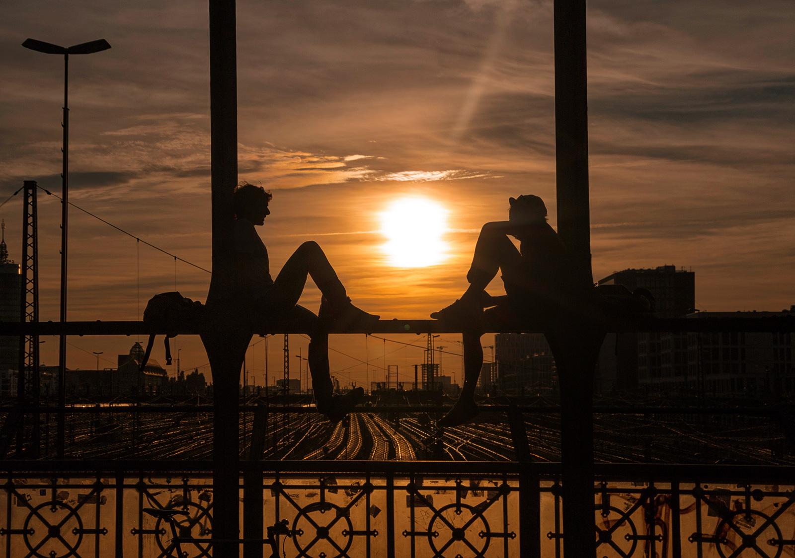 Sonnenuntergang an der Hackerbrücke, München