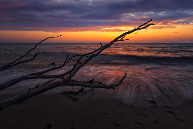 Sonnenuntergang am Weststrand, Darß, an der Ostsee