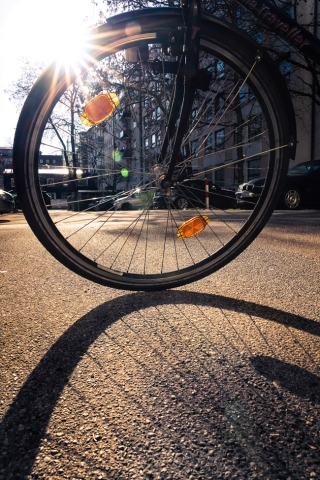 Ein Fahrradreifen im Gegenlicht