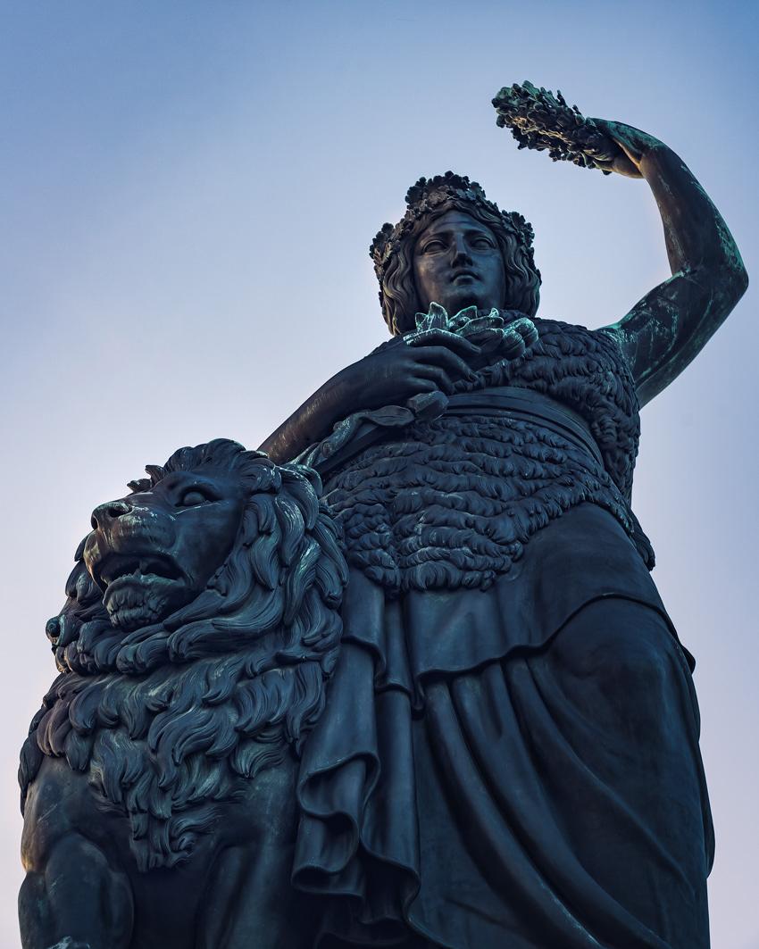 Über 18 m hoch ist die Statue der Münchner Bavaria auf der Theresienwiese.