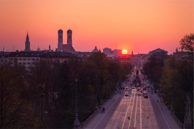 München, Frauenkirche, Sonnenuntergang, Maximilianeum, Deutschland, Bayern