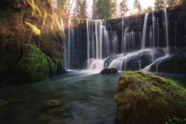 Allgäu, Geratser Wasserfall, Deutschland, Langzeitbelichtung, Wasserfall,