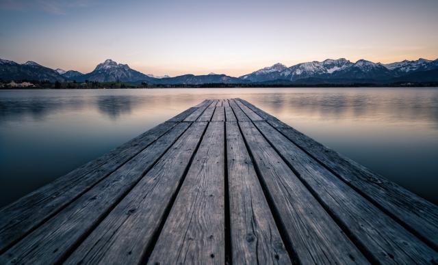Allgäu, Deutschland, Hopfensee, Steg, Alpen, Berge, See, Sonnenuntergang