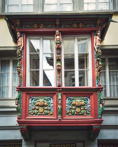 St. Gallen, Schweiz, Erker, Verzierung, Tradition, Architektur