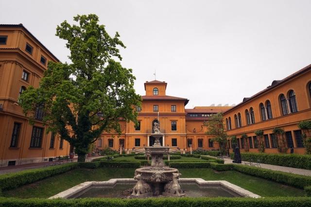 Lenbachhaus, Garten, Brunnen, Park, München, Oberbayern, Deutschland