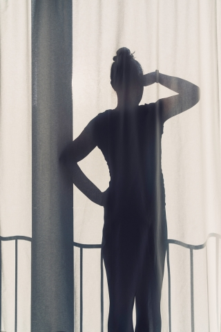 Selfie, Vorhang, Silhouette, Ausblick