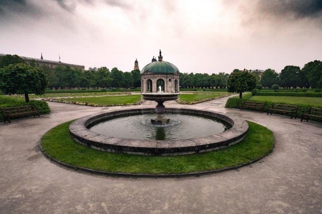 Hofgarten, Brunnen, München, Oberbayern, Bayern, Deutschland, Park