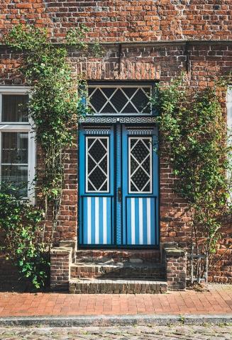 Tür, Garding, blau,