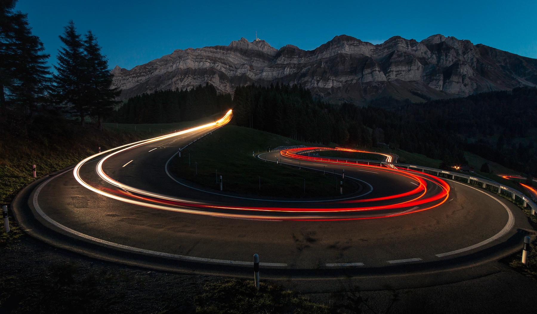 Light trails, Säntis, Schweiz, Lichtspuren