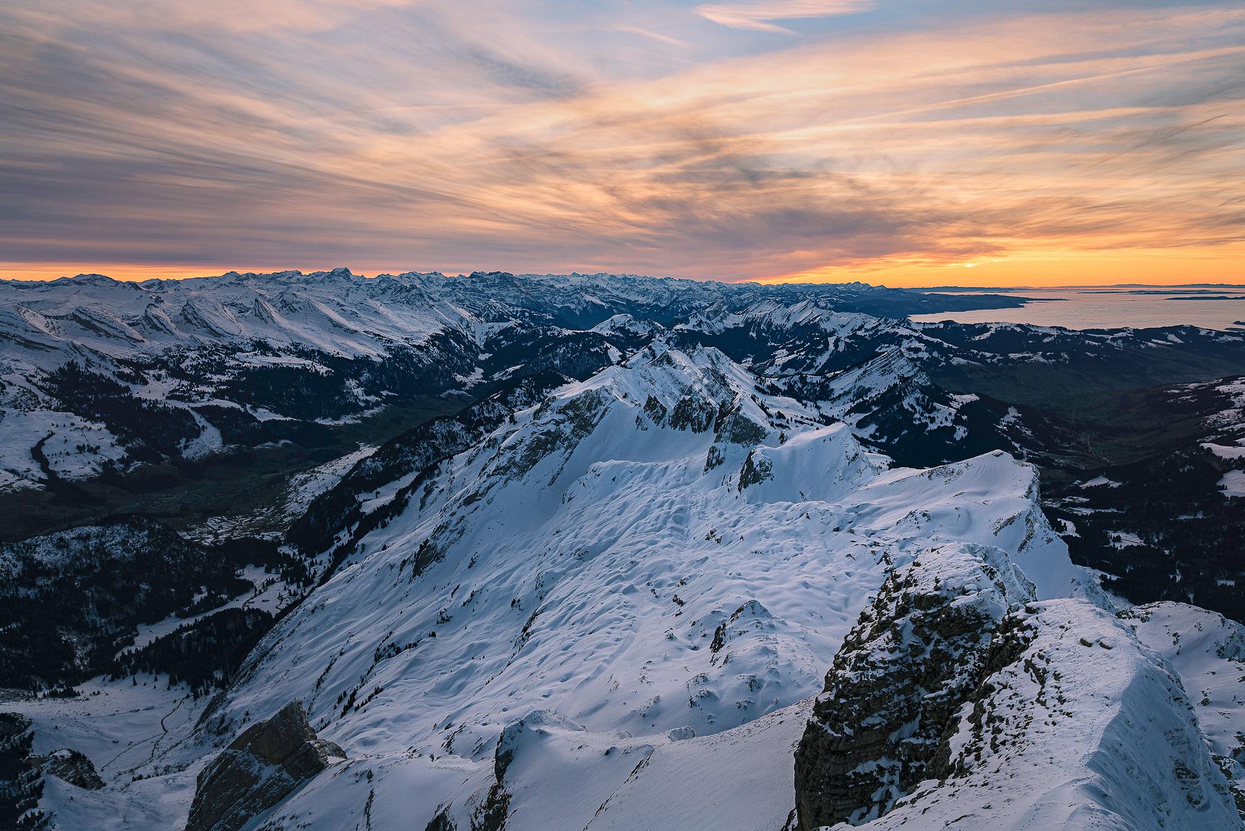 Säntis der Berg, Schweiz, Alpsteingebirge, Sonnenuntergang