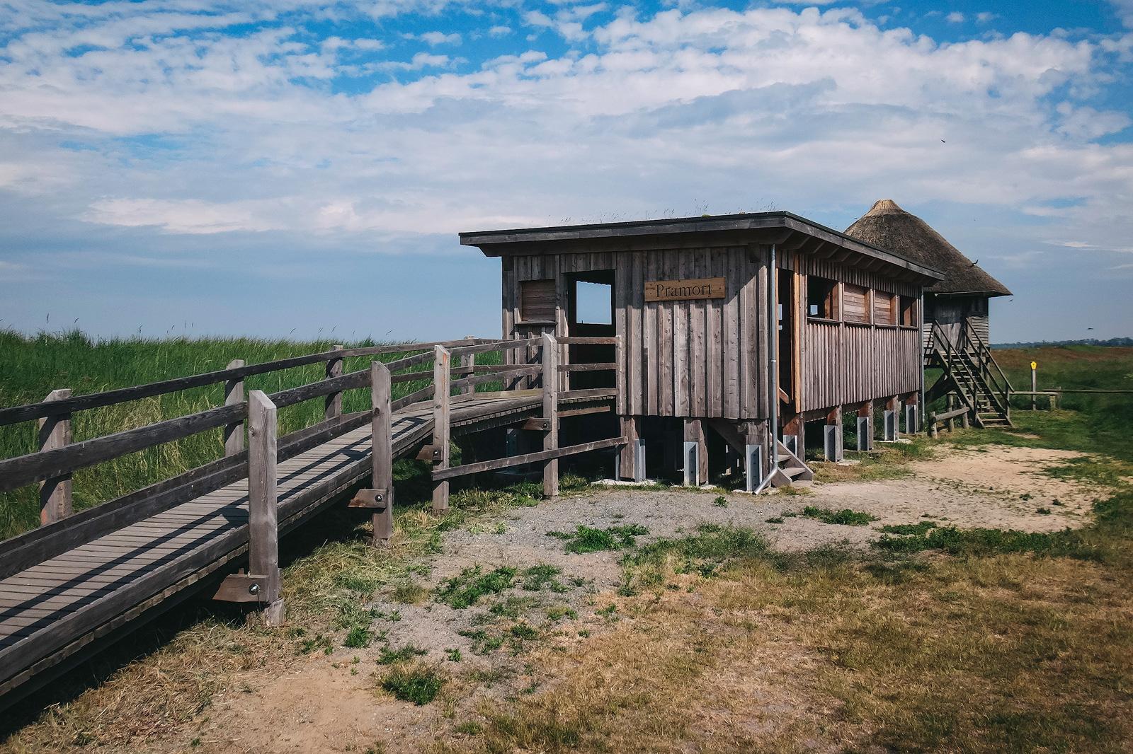 Aussichtspunkt Pramort. Hier können im Herbst und Frühjahr tausende Kraniche beobachtet werden.