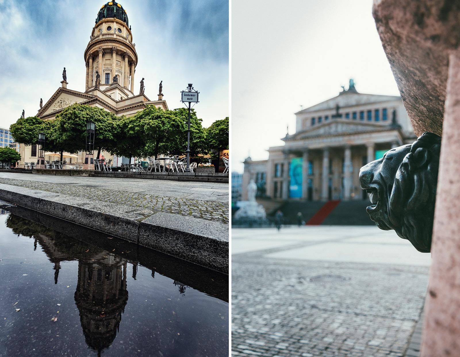Deutscher Dom und Detailaufnahme am Gendarmenmarkt Berlin.