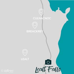 Karte, Fotospot Lealt Falls, Isle of Sky, Schottland, kathrinsworld, Kathrin's World