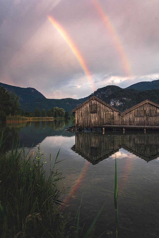 Regenbogen am Kochelsee, Bayern