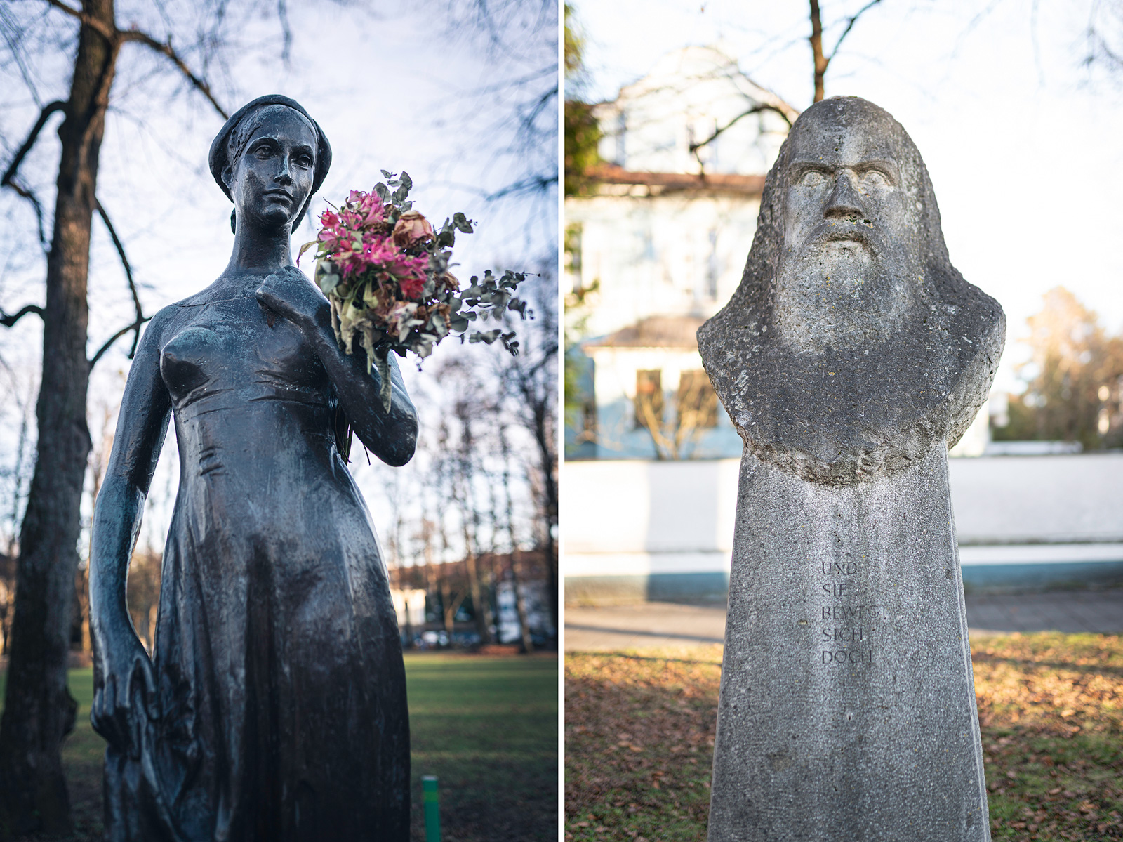 Statuen von Julia am Shakespeare-Platz und Galileo Galilei