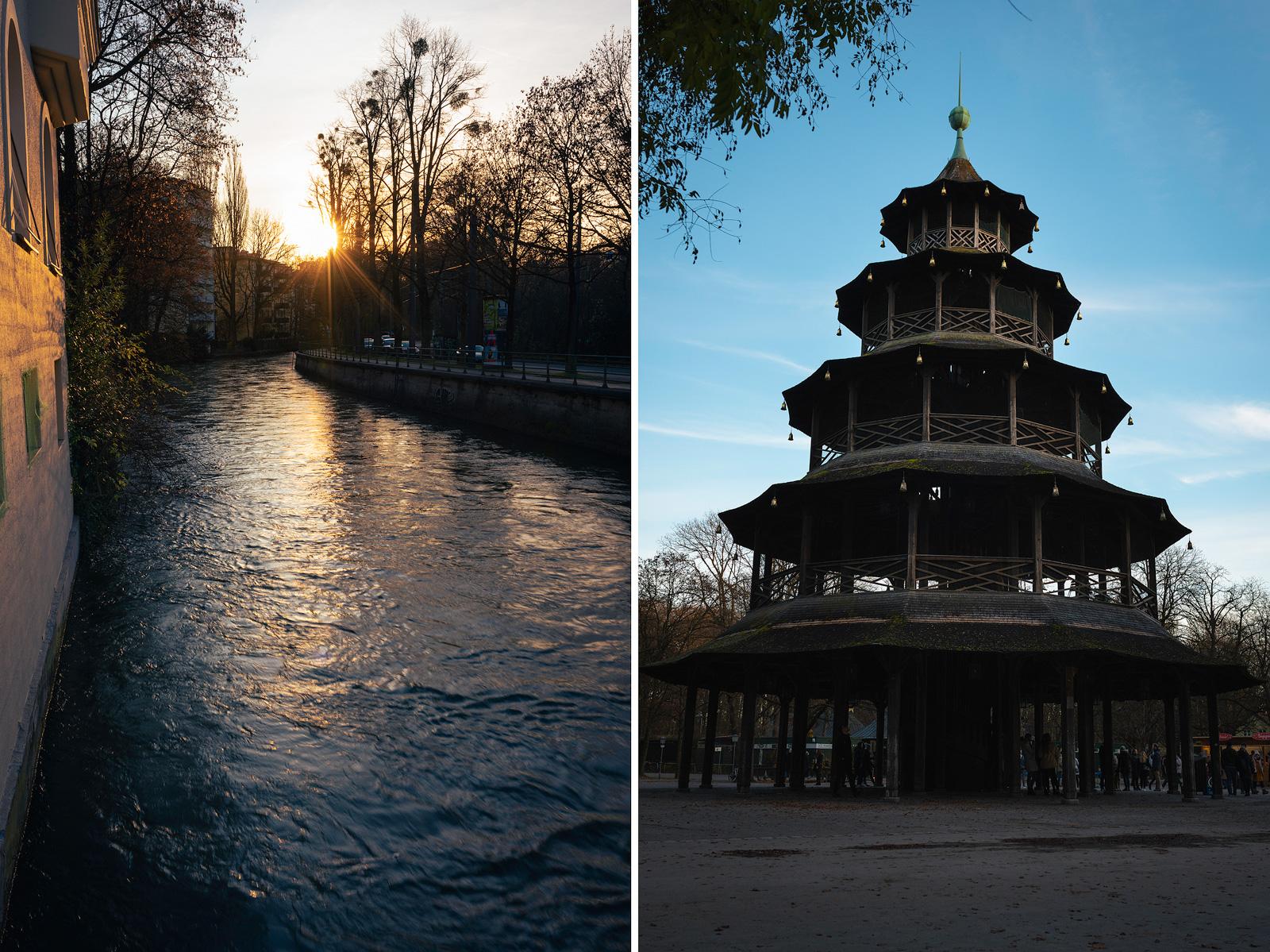 Tivolibrücke an der Tivolistraße und der Chinesische Turm in München